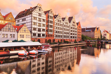 Old Town of Gdansk (Danzig) in Poland with Motlava river, Poland