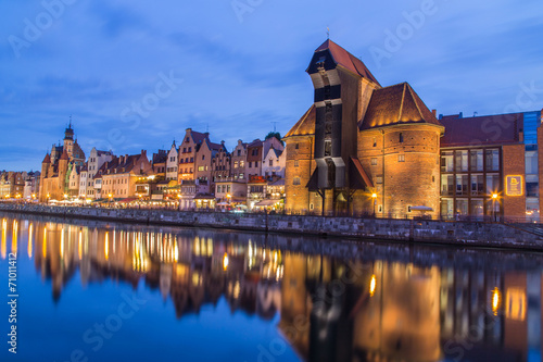 A view of a Gdansk port in the dusk, Gdansk, Poland