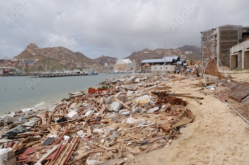 Foto op Canvas Onweer Damaged by hurricane Odile marine of Cabo San Lucas