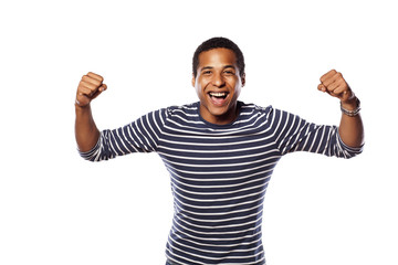happy dark-skinned young man on white background