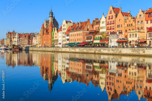 City on the water Harbor of Motlawa river with old town of Gdansk, Poland