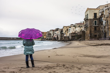 A rainy day at the beach