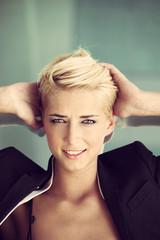 short hair blonde woman