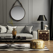 Leinwanddruck Bild - Contemporary elegant grey living room