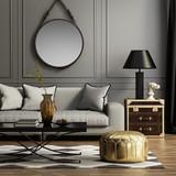 Contemporary elegant grey living room - 71013418