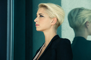 short hair blonde profile
