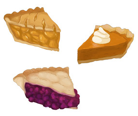 Pie slices - Apple, Pumpkin and Berry