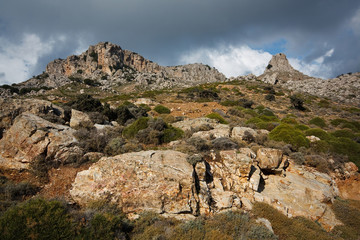 Typical mountain scenery in Crete, Greece.