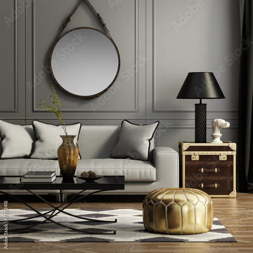 Contemporary elegant grey living room - 71013418