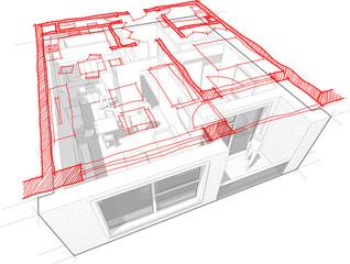Apartment diagram with hand drawn floorplan diagram