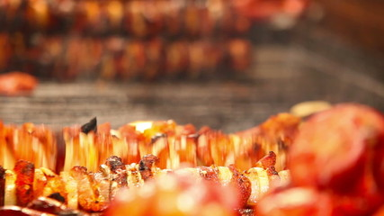 Meat roasts on the Fire: European national dish