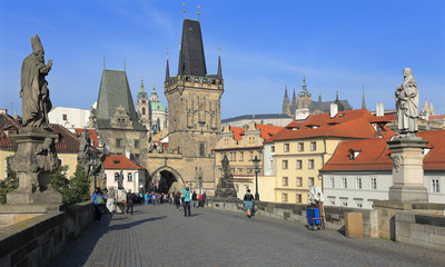 Prague St. Nicholas' Cathedral with Castle from Charles Bridge