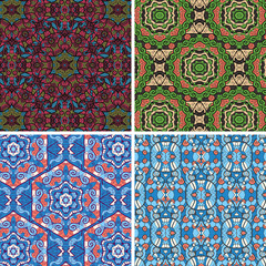 Seamless vector pattern in blue and green colors oriental