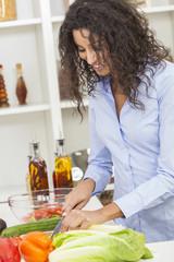 Woman Preparing Vegetables Salad Food in Kitchen