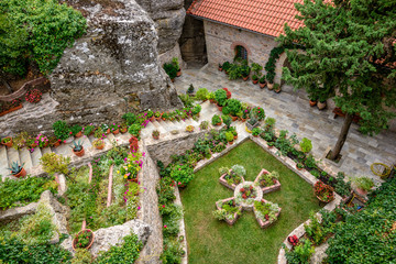 Courtyard of the Holy Monastery of Rousanou in Greece