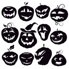 Set of Contours Halloween Pumpkins