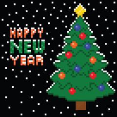 pixel art style christmas tree