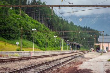 Small town train station in Alps, Austria
