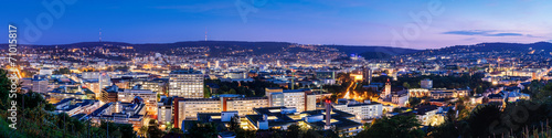 Leinwanddruck Bild Stuttgart zur blauen Stunde