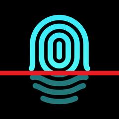 Fingerprint identification system - whorl type icon.