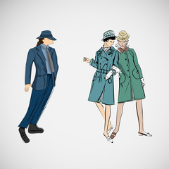 Vector sketch girls and man in fashion clothes