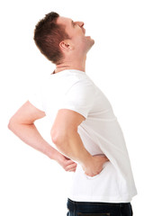 Man in agony with back pain