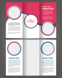Trifold beauty pink brochure print template design poster