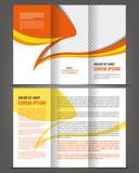 Vector trifold orange brochure print template design poster