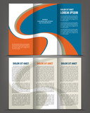 Vector empty trifold brochure template blue design poster