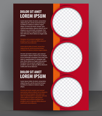 Magazine, flyer, brochure and cover layout red design template
