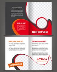 Vector empty bifold brochure print template red design