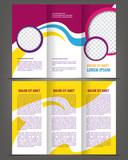 Vector empty trifold brochure print template violet design poster