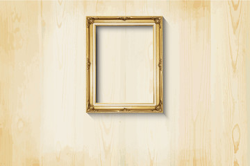 Old style, Golden picture frame on wood background