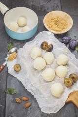 Plum Dumplings. Making Plum Dumplings