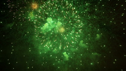 Abstract background - green and red fireworks, full screen