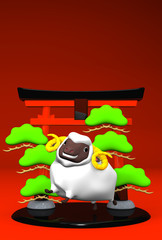 Smile White Sheep And Symbolic Entrance On Red Text Space
