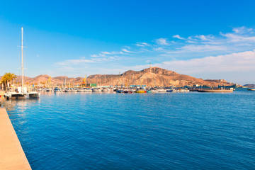 Cartagena port in Murcia at Spain Mediterranean