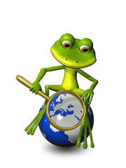 frog on a globe with a magnifying glass