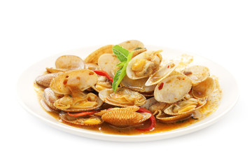 stir  fried surf clams with roasted chili paste  on plate