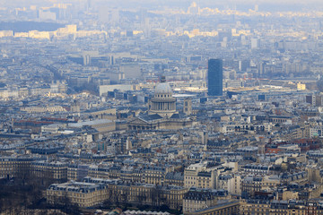 Panorama of Paris with Pantheon, view from top