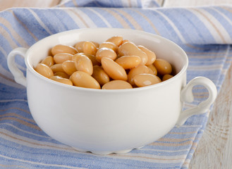 Beans  in the  white bowl