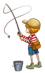 A simple sketch of a young boy fishing