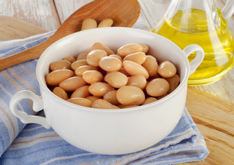 White beans on  wooden table