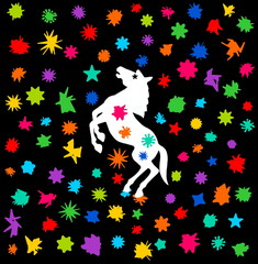 horse festival with a shower of color