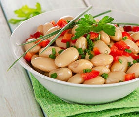 White beans salad  in    bowl