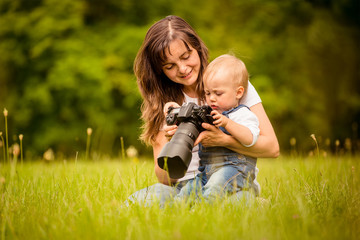 Mother, child and camera