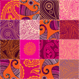 Imitation of quilting design in indian style with paisley orname
