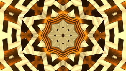 Colorful looping kaleidoscope sequence of golden patterns