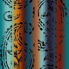 Grunge decorative ornament on the striped background