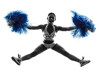 young woman cheerleader cheerleading  silhouette